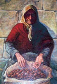Castañera - Pintura de Vázquez Fernández